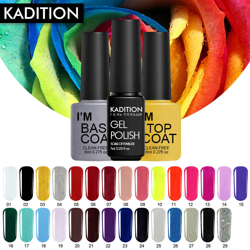 Kadition Murni Warna Baru Kuku Gel Polish 7 Ml DIY Kuku Seni Tahan Lama Rendam Off UV LED Manikur Beruntung kuku Gel Lacquer Varnish