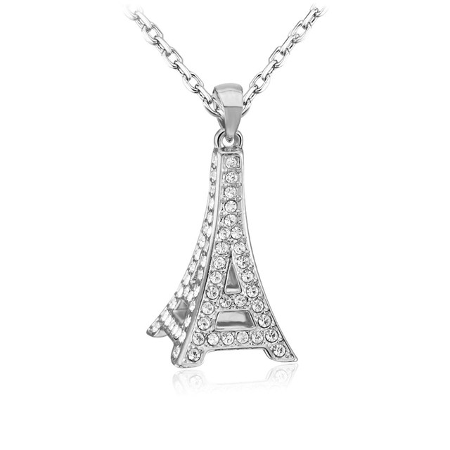 High quality silver plated chain eiffel tower pendant necklace for high quality silver plated chain eiffel tower pendant necklace for women round crystal long necklace aloadofball Images