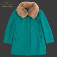 2018 новый бренд зима осень детей меховой воротник шерстяные куртки однобортные пальто для маленьких детей верхняя одежда для девочек Одежда