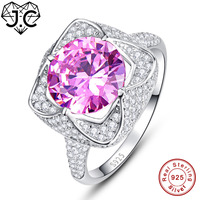 J C Engagement Women Fine Jewelry Pink Emerald Topaz White Topaz Love Style Solid 925 Sterling