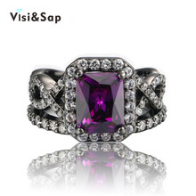Black Gold plated Rings For Women purple stone Euramerica ring jewelry AAA CZ diamond Wedding rings fashion Jewelry VSR224 elegant purple black gold filled cz ring gold colors flowers rings unique vintage party wedding for women christmas jewelry