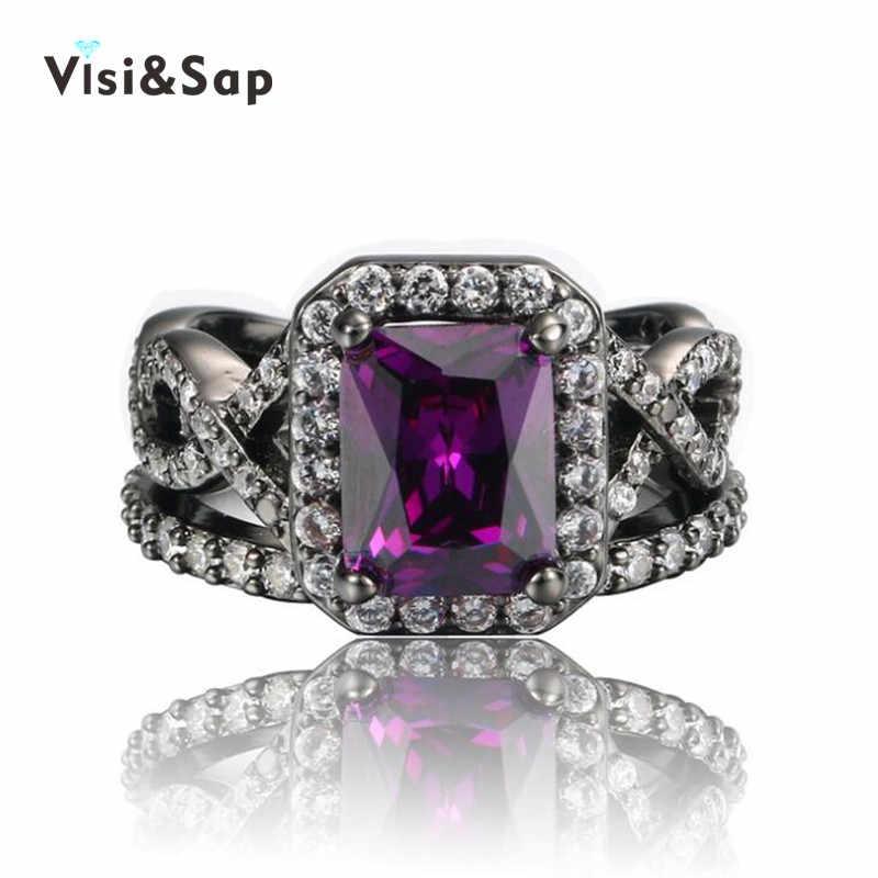 Visisap preto ouro cor anéis para as mulheres roxo pedra anel punk jóias aaa zircônia cúbica casamento anéis elegante bague vsr224