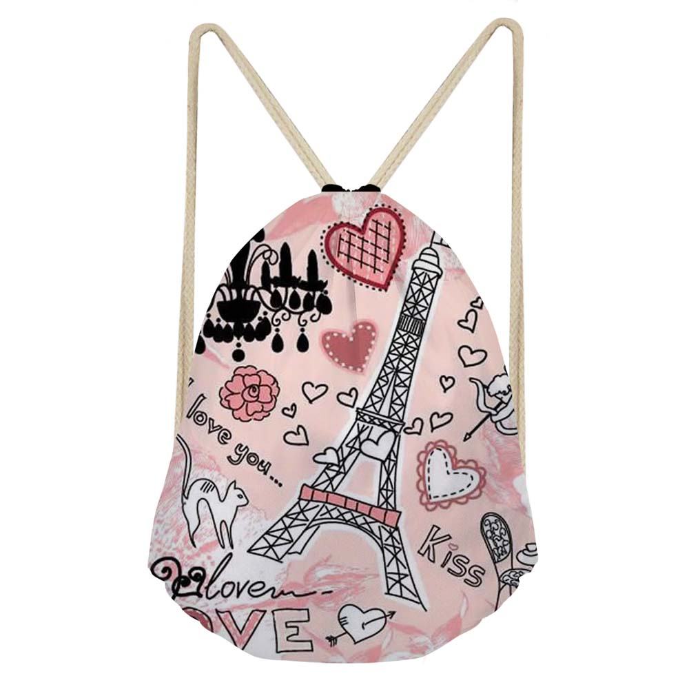 Women's Bags Kind-Hearted Forudesigns Pink Women Daypack Paris Eiffel Tower Travel Backpack School Drawstring Bag For Teenage Girls Pocket Female Bagpack Pure White And Translucent