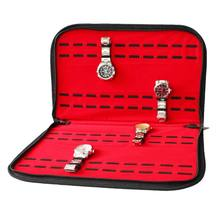 20 Slots/Grids Leather Watch Case with Zipper Velvet Wristwatch Display Storage Box Tray Travel Jewelry Packing Shelf Organizer(China)