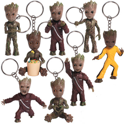 Tree Men Movie Dolls Phoneholder Guardians of Galaxy Vol 2 Man Figuras Brinquedos Keychain Key Bag Pendants kids gifts