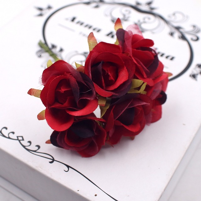 Ordinaire 6 Pçs/lote Simple Red Rose Bouquet Flores Artificiais Casamento Casa  Acessórios Decorativos Fleurs DIY