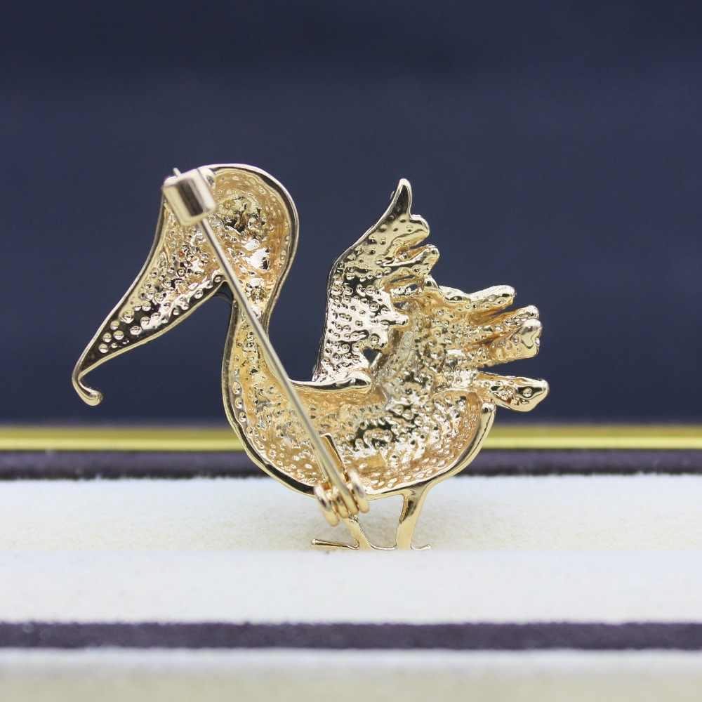 Pelican Bros untuk Wanita Logam Pin Aksesoris Biru Enamel Pin Hadiah Enamel Bros Kerah Pin Hewan Besar Bros Karl Perhiasan
