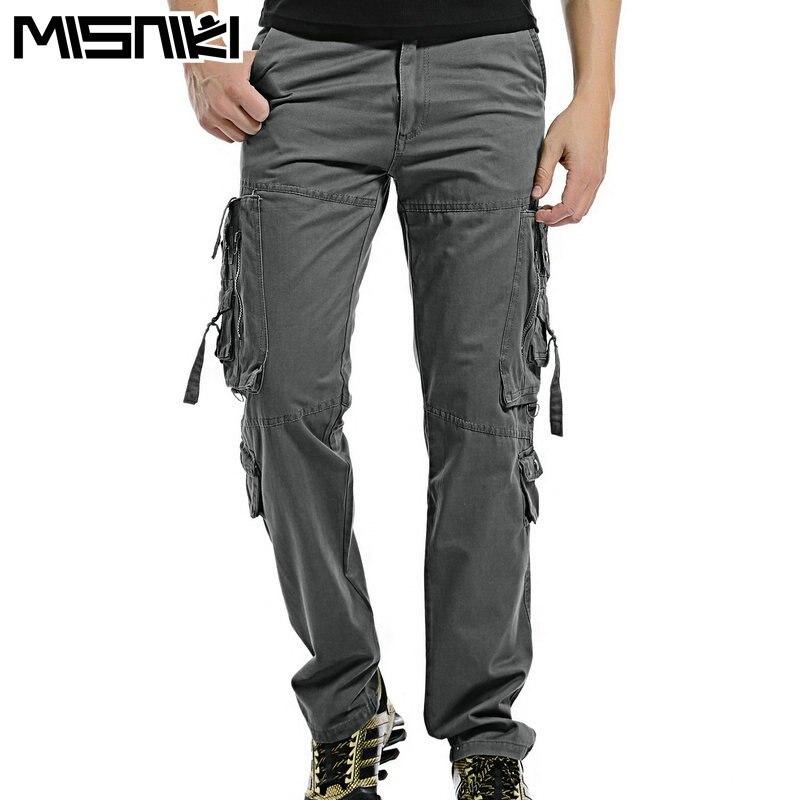 Misniki горячая мода регулярные брюки-карго мужская хлопка случайные тонкие мужские тактические брюки