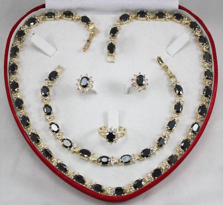 United States Jewelry word Fine Black Zirconia crystal necklace bracelet Ring Jewelry Sets USA Style silver jewelry