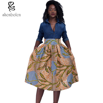 Africa Clothing 2017 summer fashion women african print skirt Traditional dashiki pure cotton  Plus Size S-4XL Платье