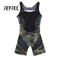 Mens Lingerie Een stuk Mouwloze Camouflage Mesh Boxer Slips Ondergoed Jumpsuit Ondershirt Bodystocking Mannelijke Erotische Ondergoed