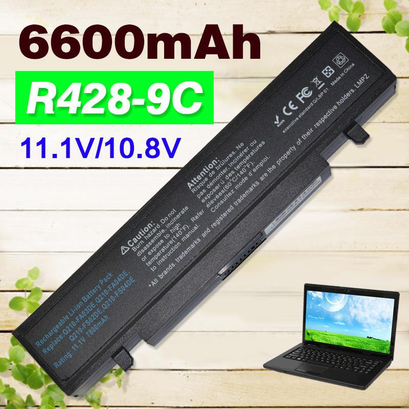 6600mAh 9 cells battery for SAMSUNG AA-PB9NS6B AA-PB9NC6B R468 R458 R522 R580 R540 R530 R519 NP-R470 NP-R478 NP-R480 NP300E5C np f960 f970 6600mah battery for np f930 f950 f330 f550 f570 f750 f770 sony camera