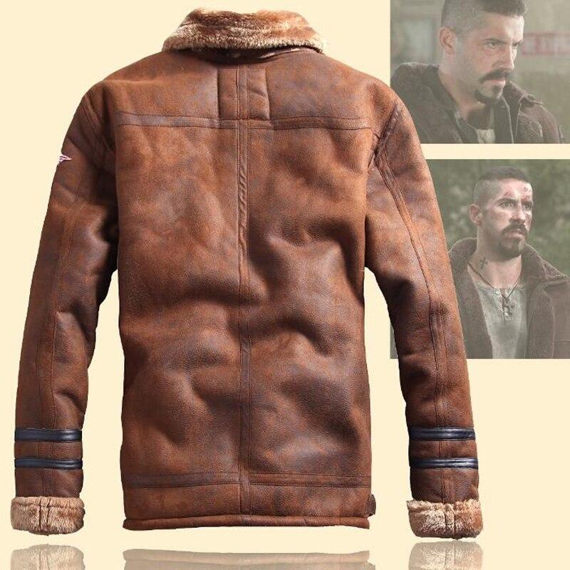 Gaya Rusia Winter Lelaki Bulu Jaket Kulit Faux kasual Fesyen - Pakaian lelaki - Foto 2