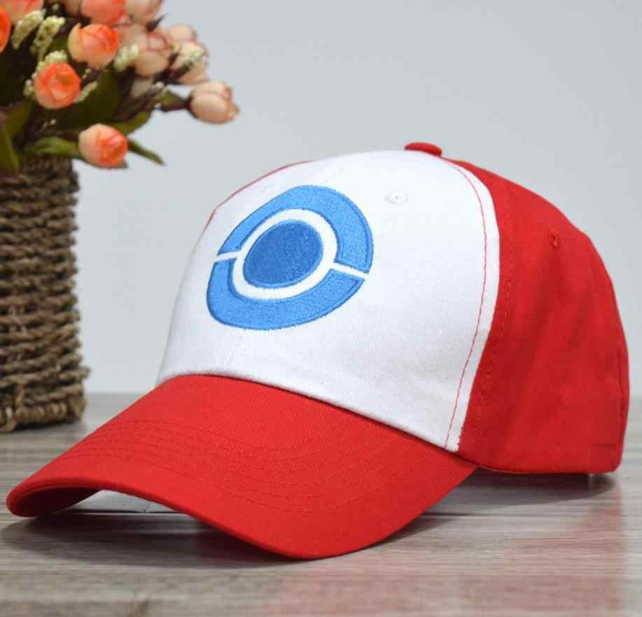 HOT Anime poche monstre Ash Ketchum Cosplay Costumes chapeaux Pokemon casquette réglable courbe visière chapeau casquette de Baseball
