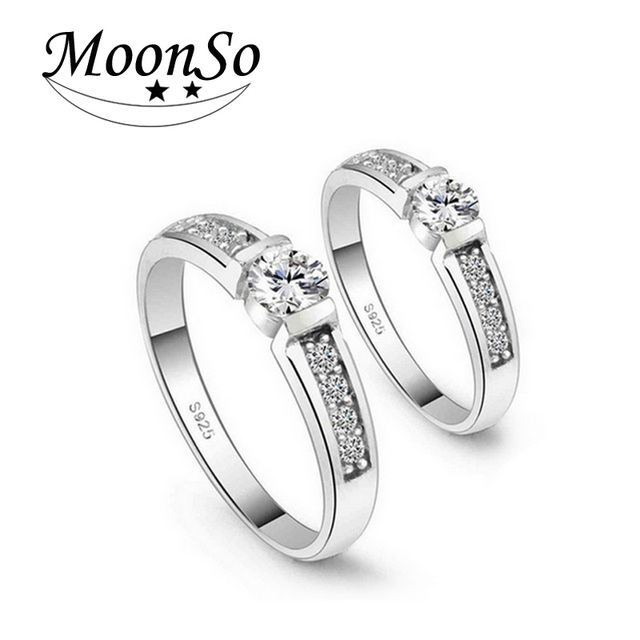 Moonso 925 Sterling Silver Rings Zircon Rings Set For Couple