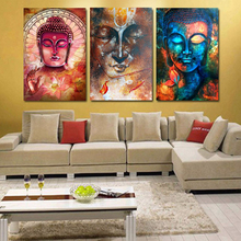 3 Panel Buddha Image Portrait Art Wall Picture Home Decoration Living Room Canvas Print Printing On