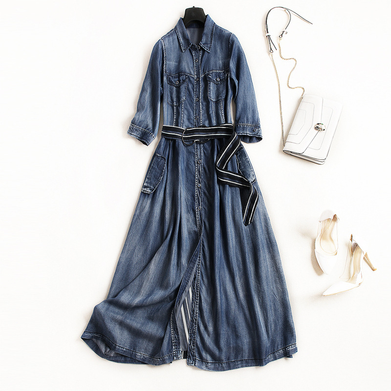 Здесь продается  Jeans a line dress 2018 new runway women summer dress high quality office lady single breasted shirts dress  Одежда и аксессуары