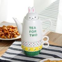 Cute Rabbit Cup Teapot Coffee Mug Milk Cup Ceramic 1 Pot 2 Cups Creative Cartoon Teapot Tea Set