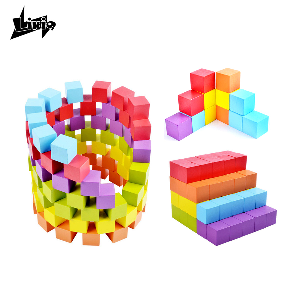 Likiq 100PCS DIY Colorful Wooden Building Cube Block Wood Cubic Brick Stacking Game Early Educational Toys Gift for children kid 3d wooden brain teaser puzzle colorful iq mind educational wood game toys for children adults