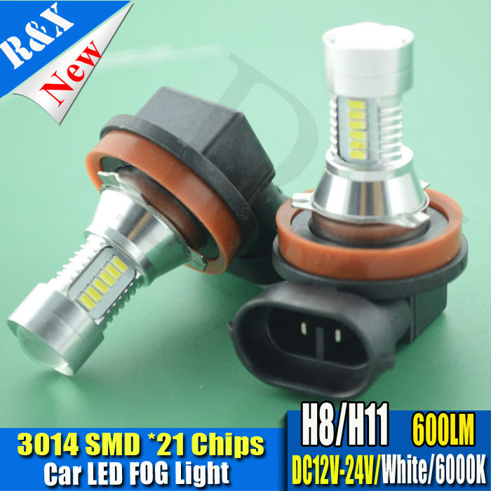 H11 3014SMD 21LED High Power LED Bulb Car Auto Light Source Convex Projector LENs DRL Driving Fog Headlight Lamp White DC12V 24V 9005 hb3 9006 hb4 7 5w high power cob led bulb car auto light source projector drl fog headlight lamp white yellow