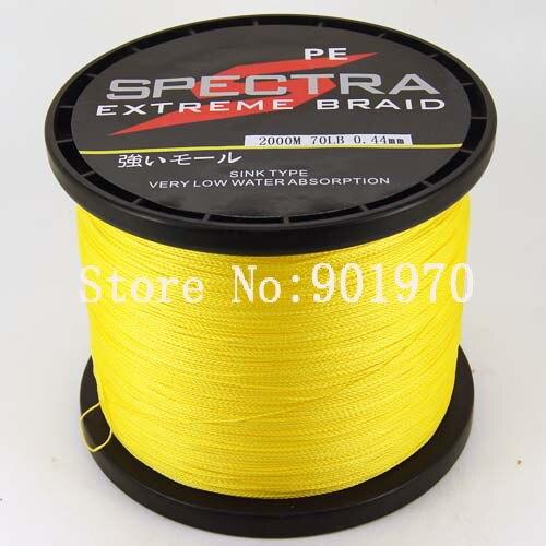 ФОТО High Quality  yellow fishing line 4 strands 2000m 70lb  free shipping