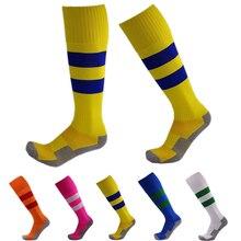 Deporte Calcetines Niños Calcetines de fútbol de Fútbol Sobre La Rodilla Durable Tubo meias Raya Niños Futbol Rodilla Terry Calcetines Deportivos de Color