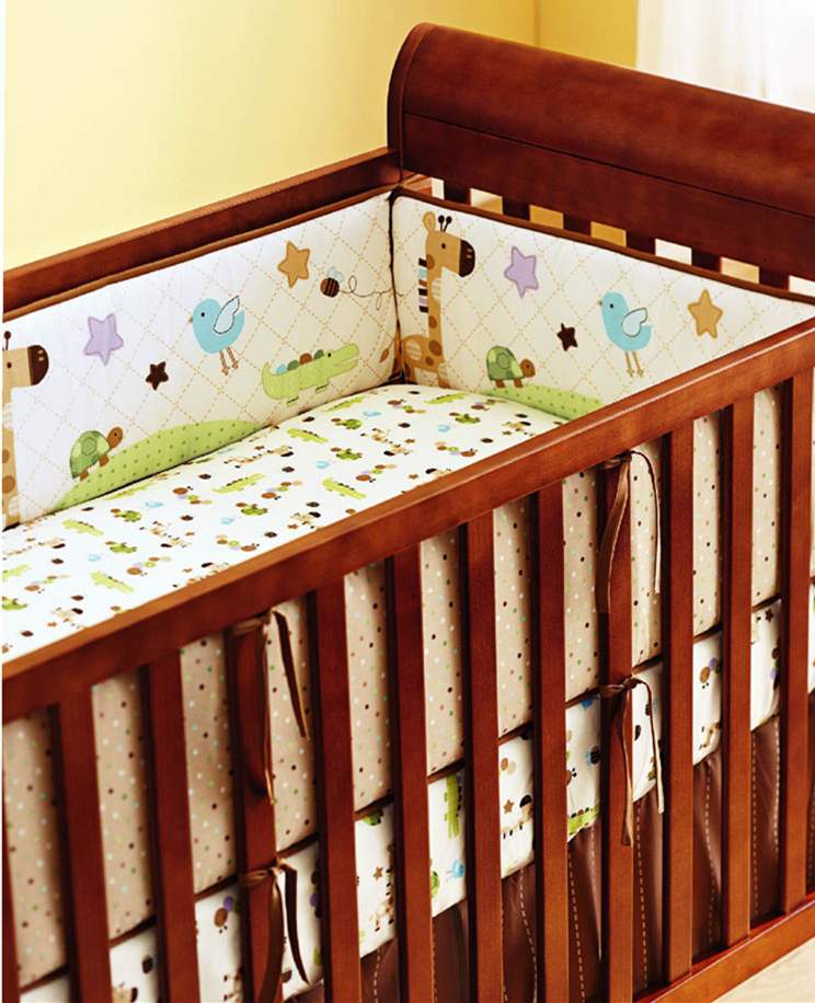 5pcs Embroidery Cot Bed Linen Baby Bedding Set 100% Cotton Cute Cartoon ,include (4bumper+bed cover) 5pcs embroidery cotton crib bed linen kit cartoon baby cot bedding set bed sheet include 4bumper bed cover