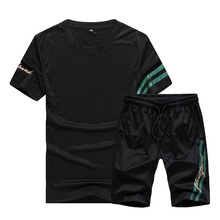 Men Tracksuit Summer Streetwear New Fashion Mens Short Set 2019 Casual O Neck T Shirts+Shorts 2Pcs Letter Print Sportswear set