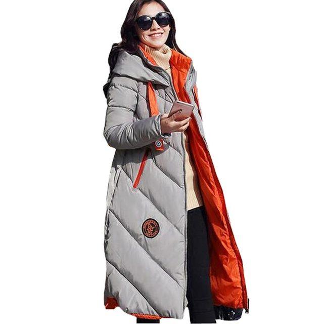 Longo inverno para baixo mulheres parkas engrossar quente algodão-acolchoado casaco longo casaco feminino amassado plus size com capuz solto outerwear kl0589