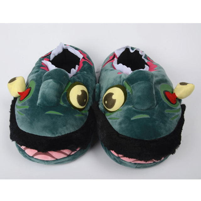 Superdeals Winter Thick Indoor Home Slippers Cartoon Monster Pikachu Squirtle Unicorn Stuffed Plush Slippers Women Men Shoes