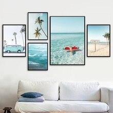 כף עץ אננס סקסי ילדה ים חוף קיר אמנות בד ציור נורדי והדפסי קיר תמונות לסלון דקור