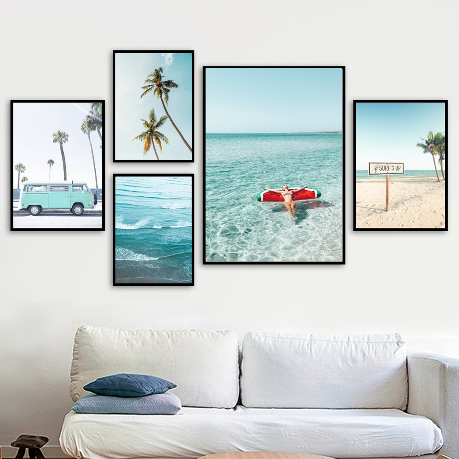 Palm Tree Pineapple Sexy Girl Sea Beach Wall Art Canvas Painting Nordic Posters And Prints Wall Pictures For Living Room Decor-in Painting & Calligraphy from Home & Garden