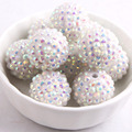 Handmade Solid White  Ab Color 20mm 100pcs Chunky Resin  Rhinestone Beads Ball for Kids Girls Necklace Jewelry Making