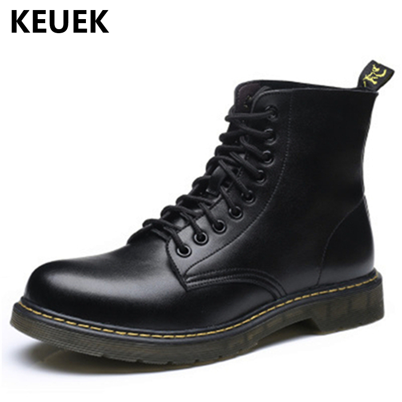Large Size Military boots Autumn Winter Men Martin boots Genuine leather Vintage Motorcycle boots Wear-resistant Male shoes 033 2016 new martin male autumn and winter genuine leather platform medium leg mens equestrian vintage motorcycle boots