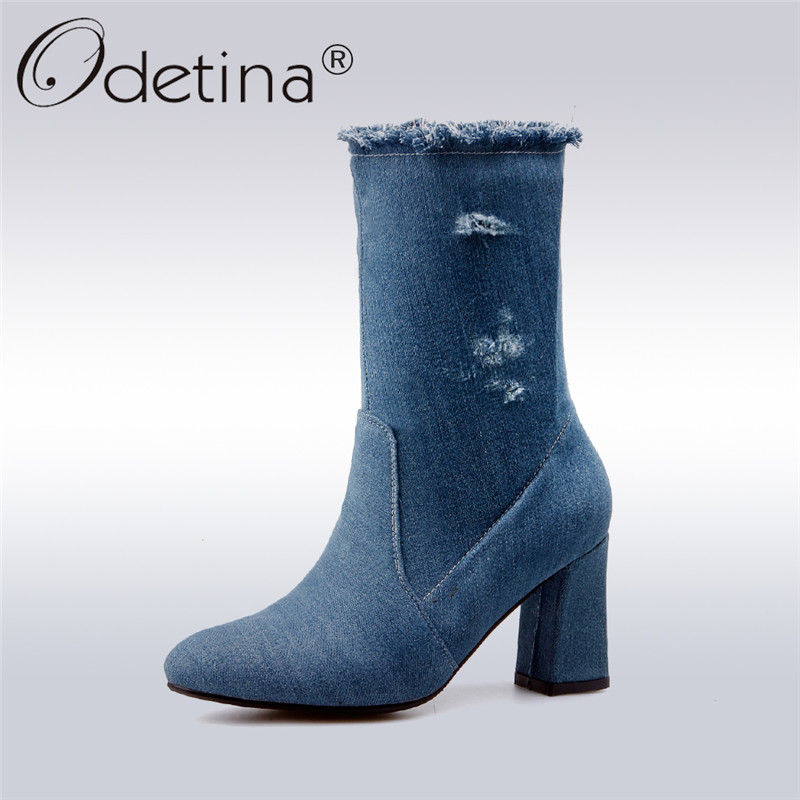 Odetina 2017 New Fashion Women Blue Denim Boots For Women Mid Calf Boots with Square High Heels Side Zipper Autumn Winter Shoes double buckle cross straps mid calf boots