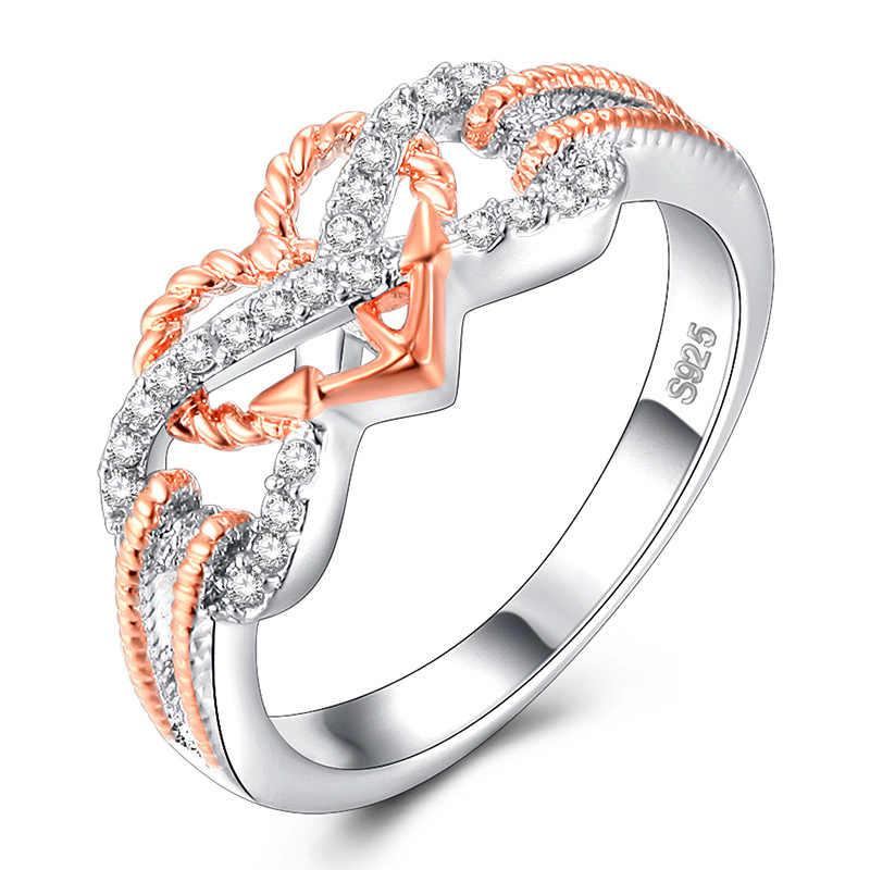 925 Del Nastro Anelli di Cerimonia Nuziale per Le Donne Hollow Modello Arco Ritorto a Forma di Cuore Anello In Oro Rosa di Separazione Micro-intarsio Completa anello di trapano