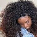 8A cabelo Humano Dianteira Do Laço Perucas de Cabelo Cheia Do Laço Perucas de Cabelo Humano para As Mulheres Negras Kinky Malaio Encaracolado 130% Peruca Encaracolado Rendas Frontal perucas