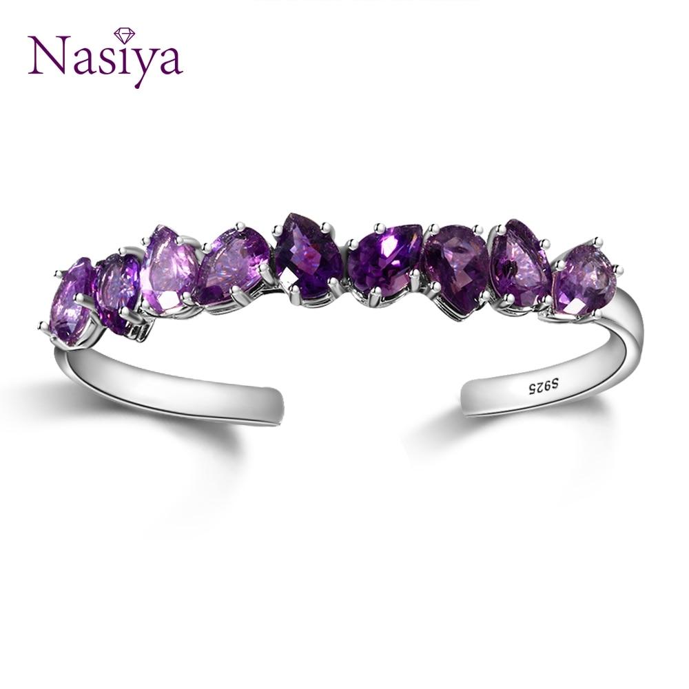 Sterling Silver 925 Bangle For Women Fine Jewelry Bracelet Purple WaterDrop Pear Amethyst Wedding Valentine Day Gift Adjustable