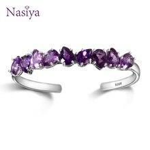 Prata esterlina 925 pulseira para mulheres jóias finas pulseira roxo waterdrop pêra ametista casamento dia dos namorados presente ajustável