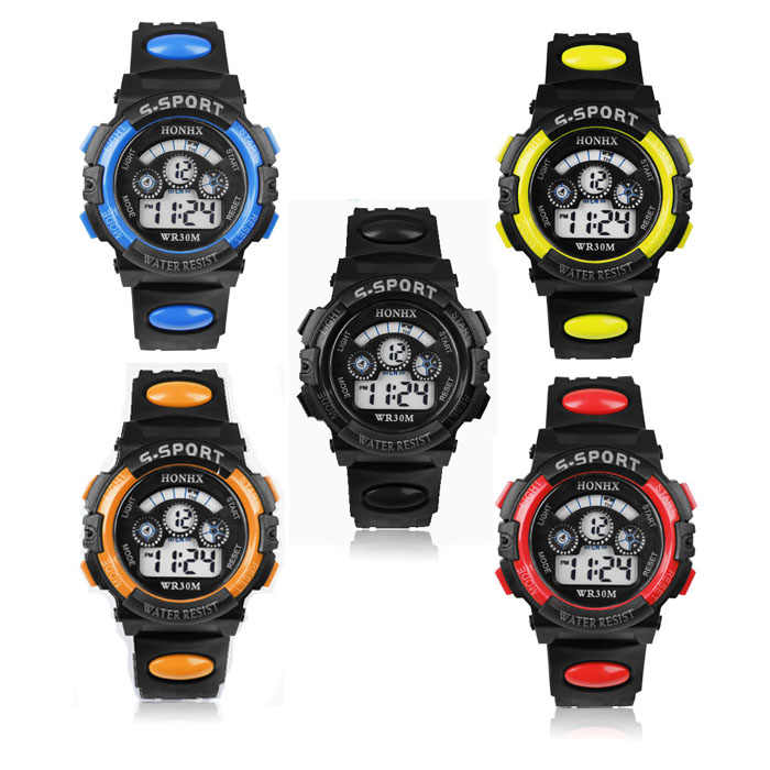 New light weight flexible outdoor Relogio Masculino Waterproof Children watch Boy men Digital LED Quartz Date Sports Wrist Watch