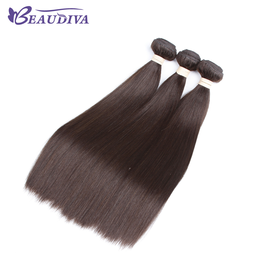 BEAUDIVA Pre-Colored #2 Dark Brown Human Hair Weave Straight No Tangle Non Remy Hair Bundle 10-24inch ...