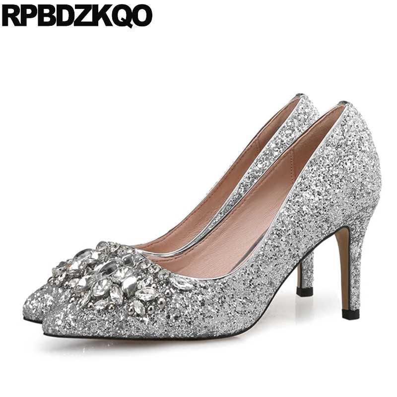 61207c64270d Sexy Bridal Plus Size Prom 4 34 Evening Shoes Dress Rhinestone Silver  Scarpin Diamond Glitter Pumps
