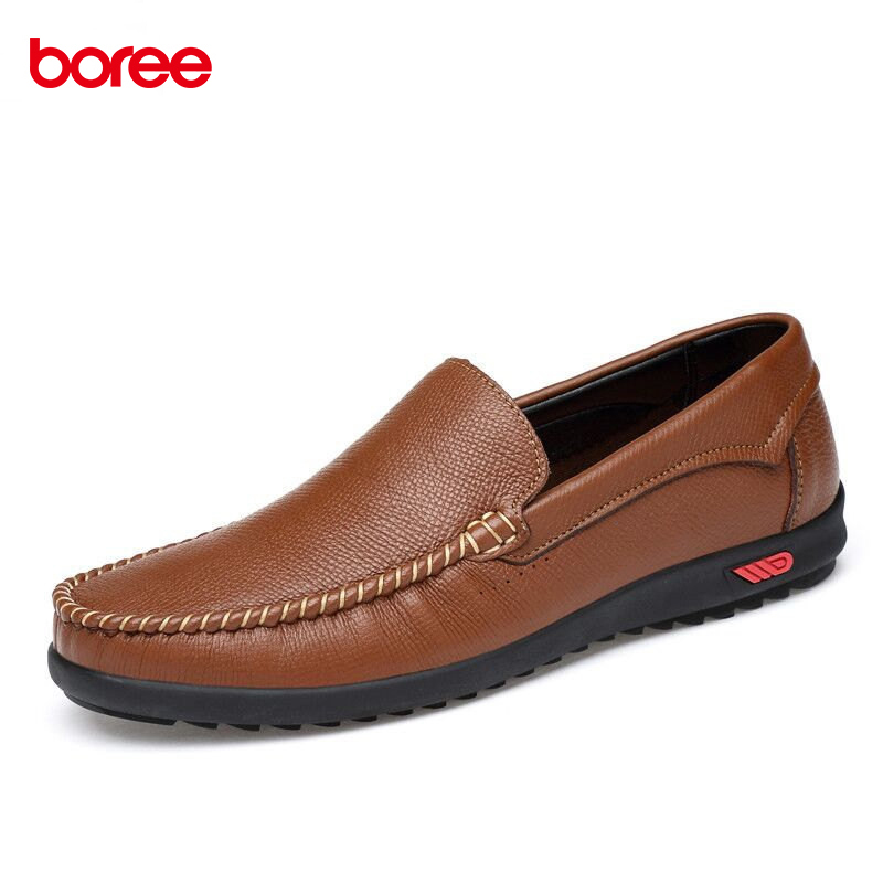 Boree Large Size 38-47 Men Leather Casual Shoes Loafers Fashion Men Shoes Moccasins Chaussures Male Breathable Driving Shoes 12 cyabmoz plus size 38 47 fashion men shoes breathable casual moccasins men loafers high quality genuine leather shoes men flats