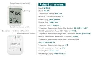Image 4 - Inkbird ITH 20R דיגיטלי מדדי לחות מקורה מדחום לחות מד עם 1 משדר מדויק טמפרטורת אקווריום חדר מוסך