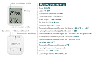 Image 4 - Inkbird ITH 20R Digital Hygrometer Indoor Thermometer Humidity Gauge with 1Transmitter Accurate Temperature Aquarium Room Garage