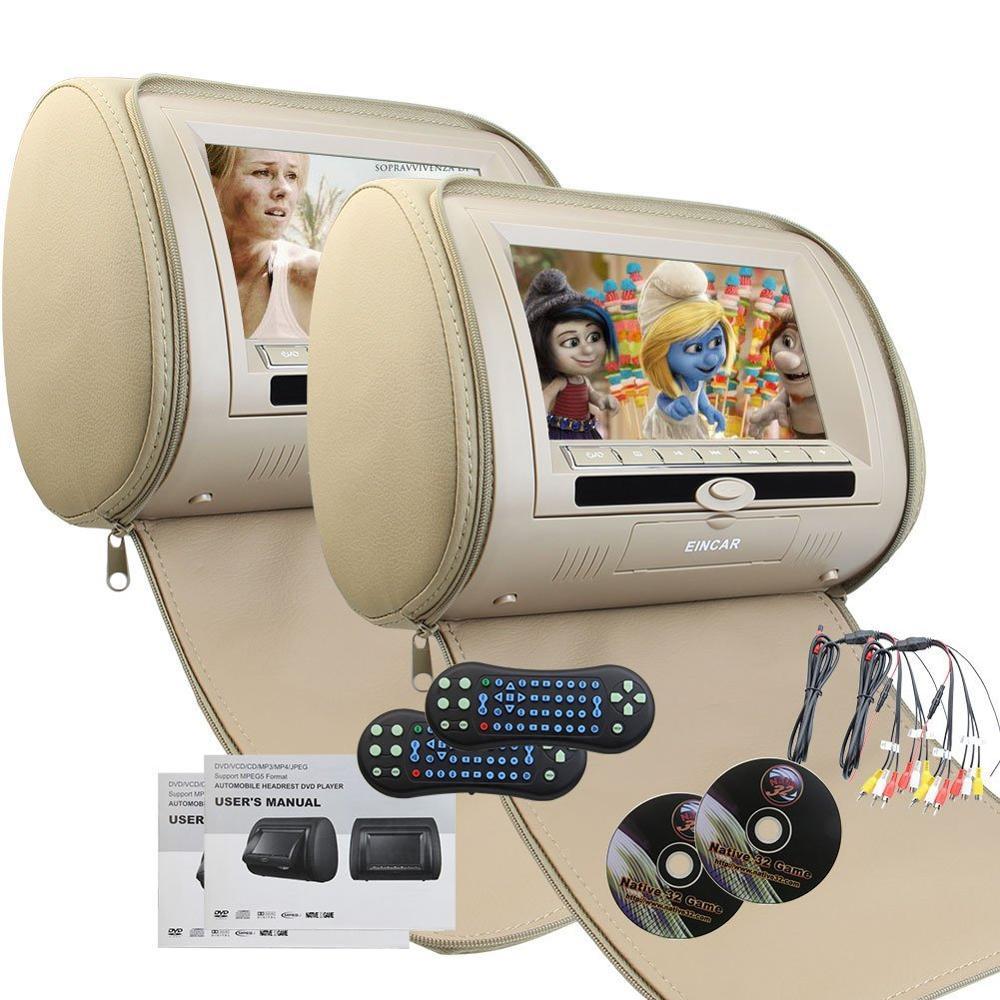 2 Pair Headrest Pillow Double Twin 7inch HD Digital Screen Dual Car DVD Player Multimedia Video IR FM Transmitter Remote Control