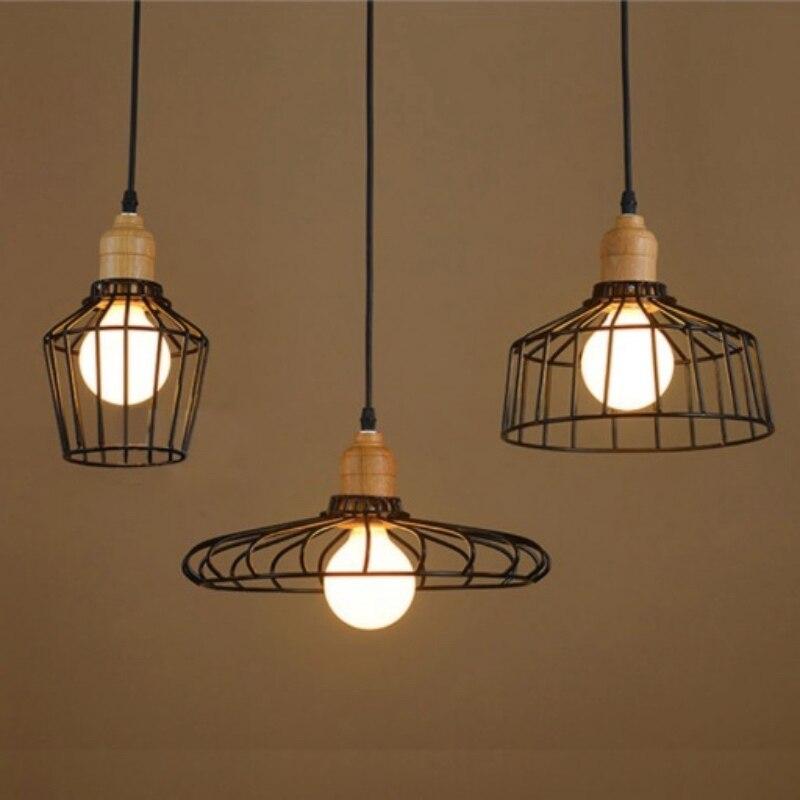 ФОТО Nordic Vintage Novelty Hand Knitted Iron Wood Led E27 Pendant light for Restaurant Living room Bedroom Bar Deco Lamps 1669