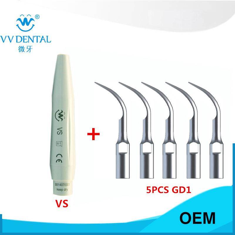 5pcs Dental Scaling Tips scaler handpiece for Satelec DTE NSK Ultrasonic Scaler Teeth Whitening high quality advanced phantom head apply to dental simulation training of teeth scaling handpiece positioning taking impressions