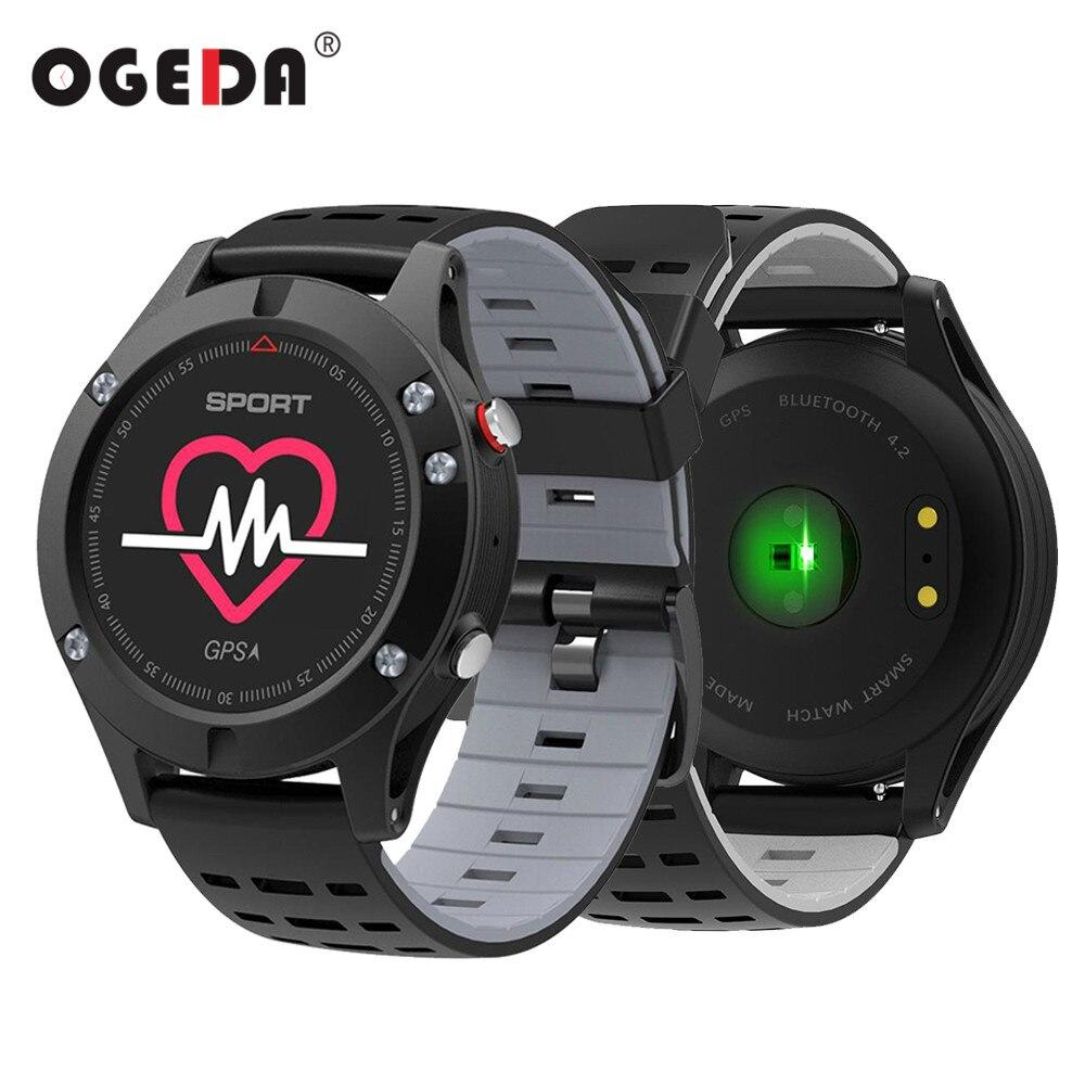 OGEDA Hommes F5 GPS Smart Montre Altimètre Baromètre Thermomètre Bluetooth 4.2 Smartwatch Dispositifs Portables pour IOS Android 2018