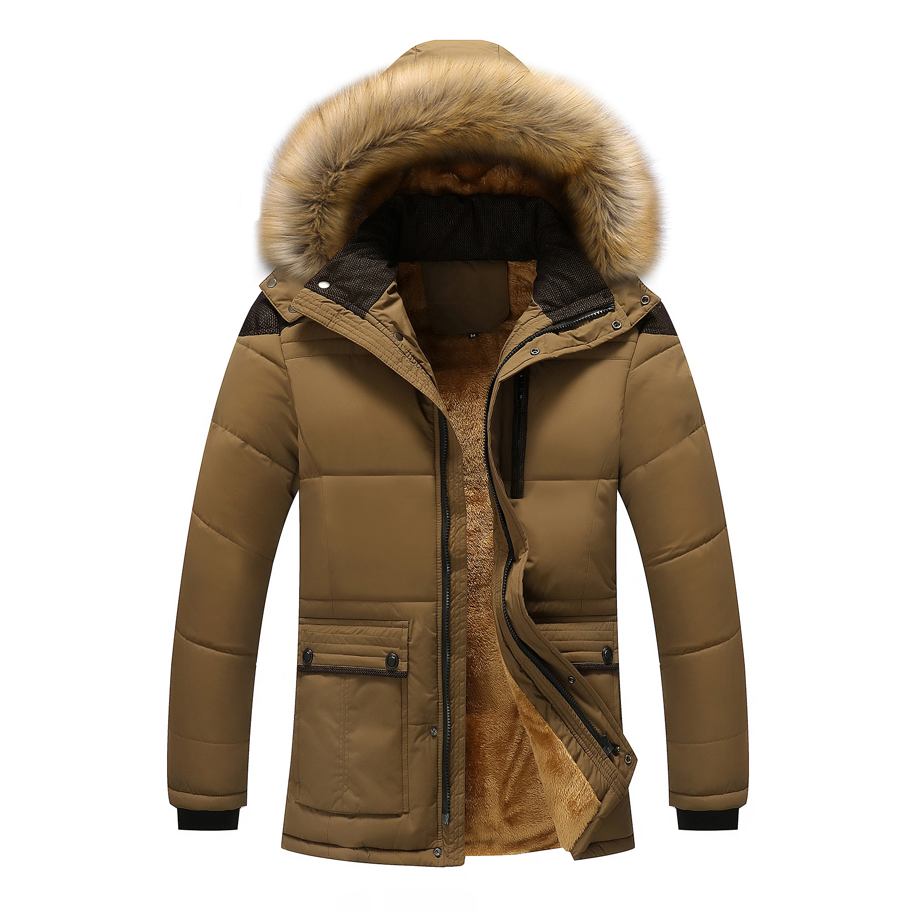 M-5XL Fur Collar Hooded Men Winter Jacket 2019 New Fashion Warm Wool Liner Man Jacket and Coat Windproof Male Parkas casaco